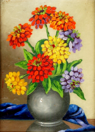 Oil paints on a canvas  a bouquet of flowers in a clay vase Stock Photo
