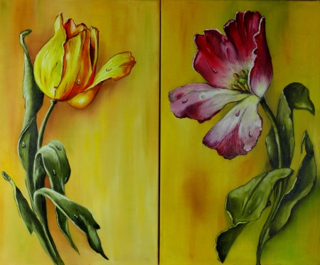 canvas painting: Tulips, Oil painting on canvas Stock Photo