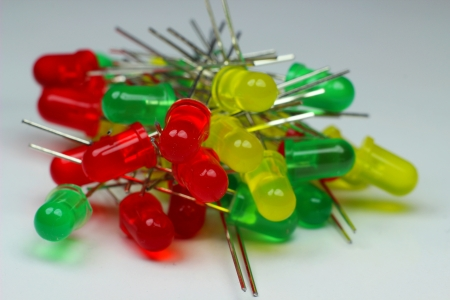 Leds, electronic components, red, green, yellow Stock Photo - 18735493