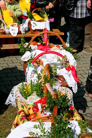 Traditional Easter basket with food in Polish countryside  photo