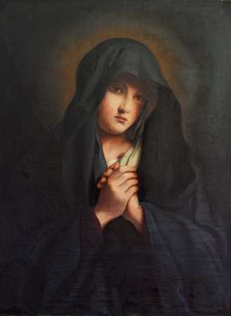 vierge marie: La Madonna dans la peine, la vieille peinture � l'huile Banque d'images