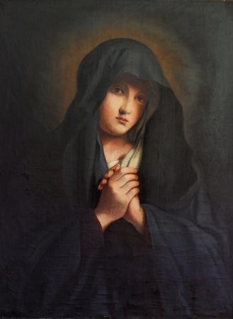 virgen maria: La Madonna en dolor, vieja pintura de aceite