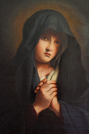 our lady of sorrows: The Madonna in Sorrow, old oil paint