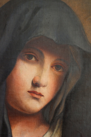 The Madonna in Sorrow, old oil paint  photo