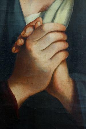 The Madonna in Sorrow   detail hands  , old oil paint