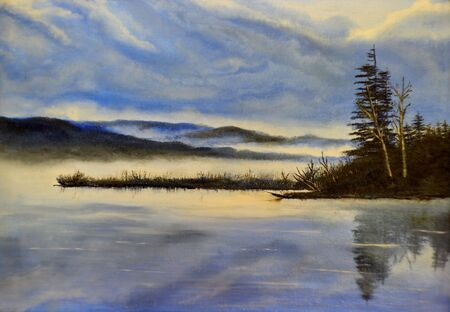 Cold evening on the lake - oil painting  photo