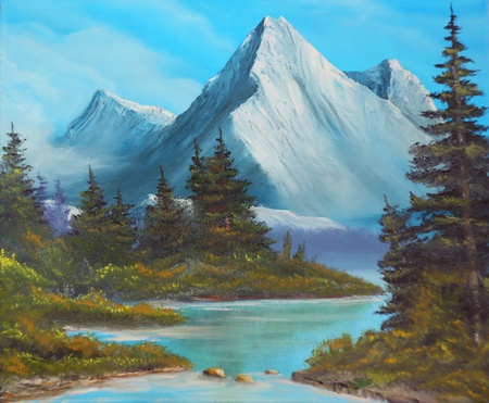 Trees on the bank of mountain lake, picture an oil paint on a canvas