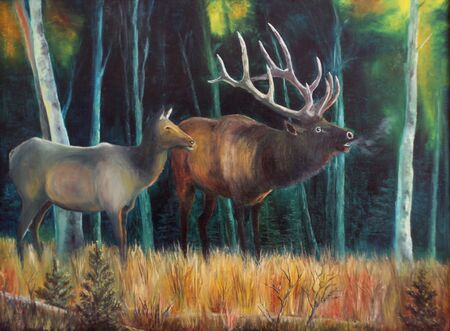 Dears in forest - oil painting  photo
