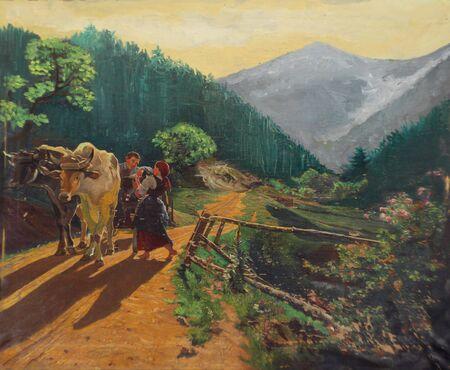 Retro Oil Paint - idyllic village photo
