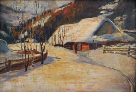 Small house in winter village, oil painting Stock Photo