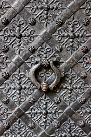 Old door with ornament in stone wall in Royal Wawel Castle, Cracow, Poland   Stock Photo - 19447412