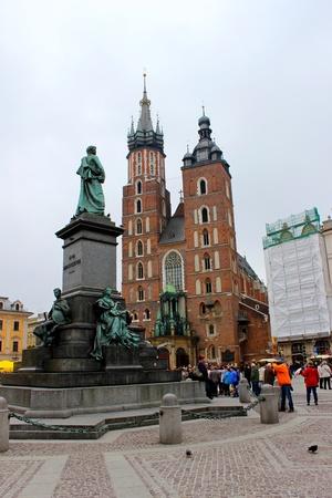 main market: Monument of Adam Mickiewicz at Main Market at Krakow