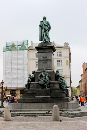 mickiewicz: Monument of Adam Mickiewicz at Main Market at Krakow