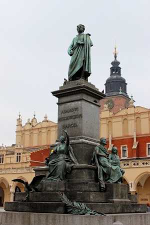 mickiewicz: Monument of Adam Mickiewicz at Main Market at Krakow  Stock Photo