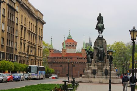 cracow: Barbakan in Cracow  Matejko Square ,  Poland