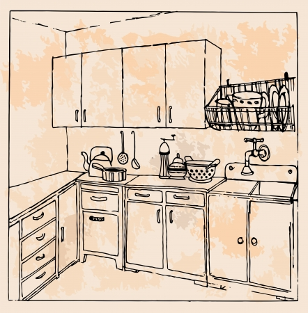 Hand-drawn vintage kitchen Stock Vector - 20014187
