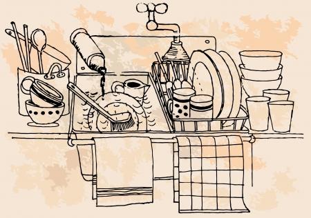 Hand-drawn vintage kitchen