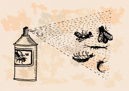 infected mosquito: Insecticide is killing pests  retro design  Illustration