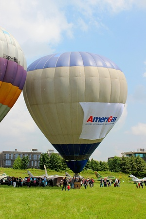 inflating: Hot air balloon inflating for launch - Cracow airshow 2013