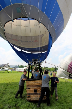 Hot air balloon inflating for launch - airshow cracow 2013