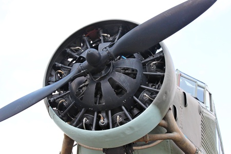 Engine and propeller closeup from retro airplane  photo