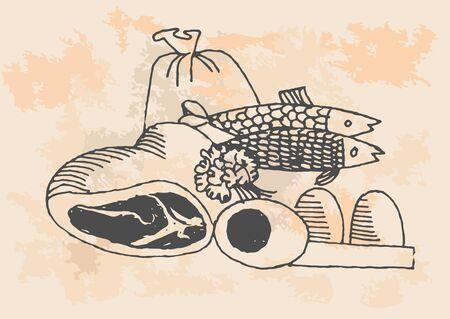チャイブ: グラフィック プロジェクト、台所でレトロな魚  イラスト・ベクター素材
