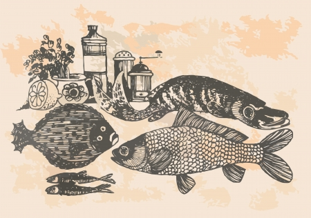 graphic project, retro fish in kitchen Vector