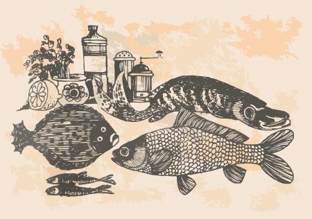 graphic project, retro fish in kitchen