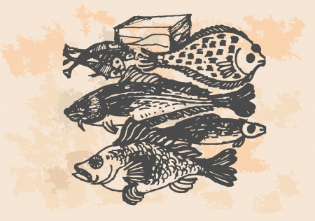 flounder: graphic project, retro fish in kitchen