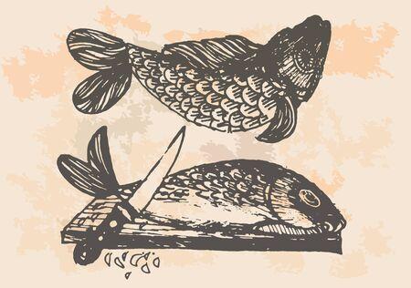 knive: graphic project, retro fish in kitchen