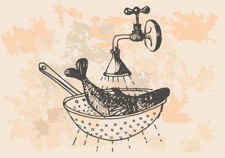 graphic project, retro fish in kitchen Vector