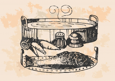 boiling water: graphic project, retro fish in kitchen