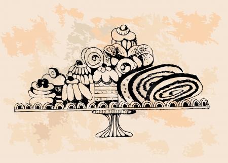 cafe bombon: Conjunto de tortas Hand drawn