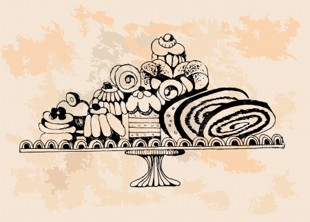 Set of cakes  Hand drawn illustrations