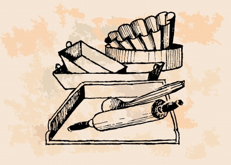 Vintage Baking Supplies  Vector
