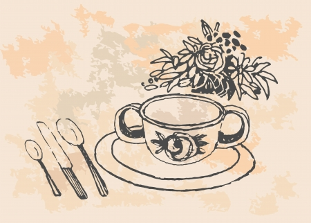 Cup of tea   Hand drawn illustration  Vector
