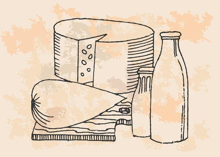 Dairy Products - Pencil Drawing Retro Style Vector