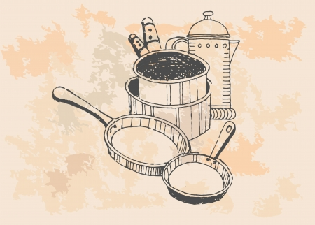 kitchen items in vintage style   Vector