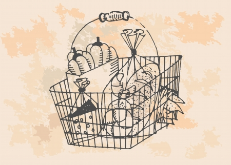 Market basket  isolated on vintage background  Hand drawing sketch illustration  Vector