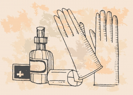 peroxide: retro first aid kit elements