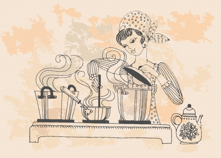 homemaker: Housewife cook and taste, in retro style