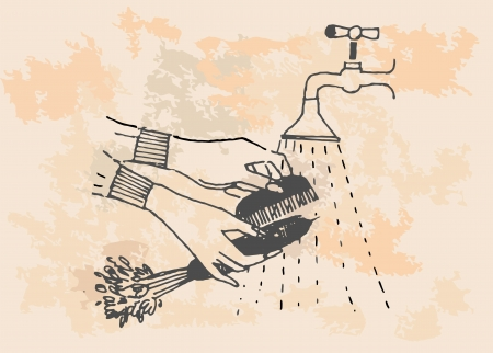 ingredients tap: The carrot is being washed in the steam of water, retro illustration Illustration