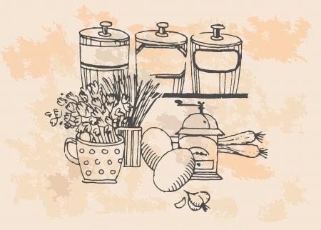 チャイブ: ヴィンテージのイラスト、レトロな食料品セット