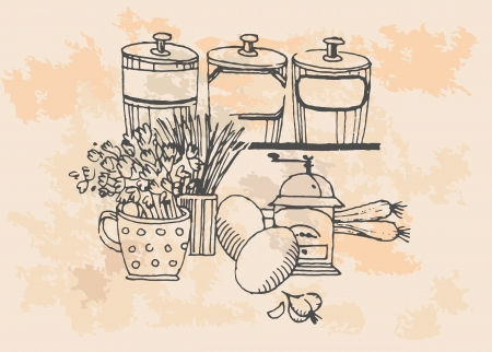 Retro grocery set, vintage illustration  Vector