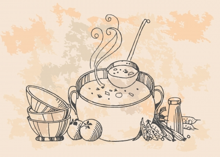 retro cooking pot  Vector