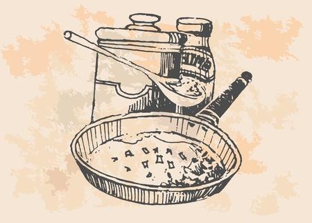 eats: Chicken In Frying Pan - Retro Clipart Illustration