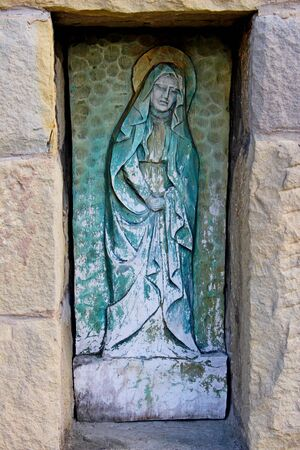 holy mary: Holy Mary statue in old christian cemetery   Stock Photo