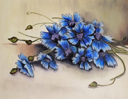 flowers, picture oil paints on a canvas photo