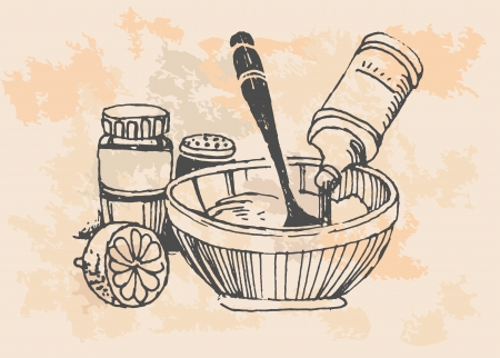 retro cooking pots Vector