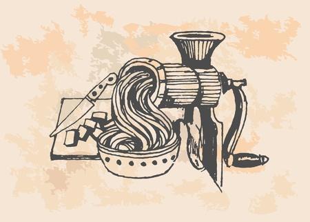 Bügeleisen, Fleischwolf, Retro-Illustration